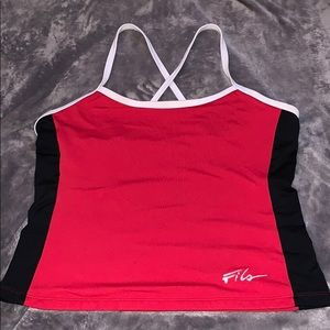 WORN ONCE Fila cropped workout tee